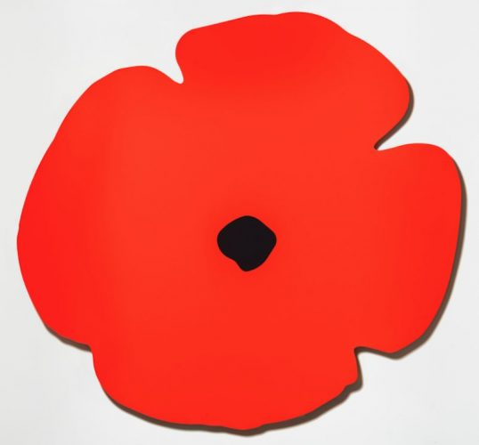Red Wall Poppy, Aug 13, 2020 by Donald Sultan at Donald Sultan