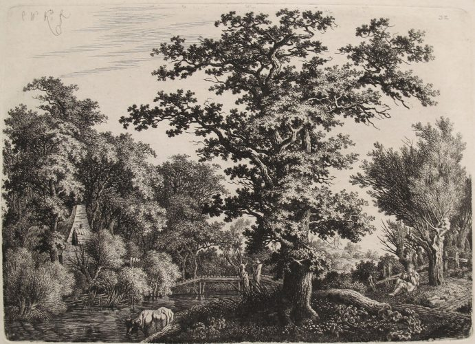 Landscape with an Oaktree alongside a River, a Shepard Playing a Flute to the Right by Carl Wilhelm Kolbe the Elder at