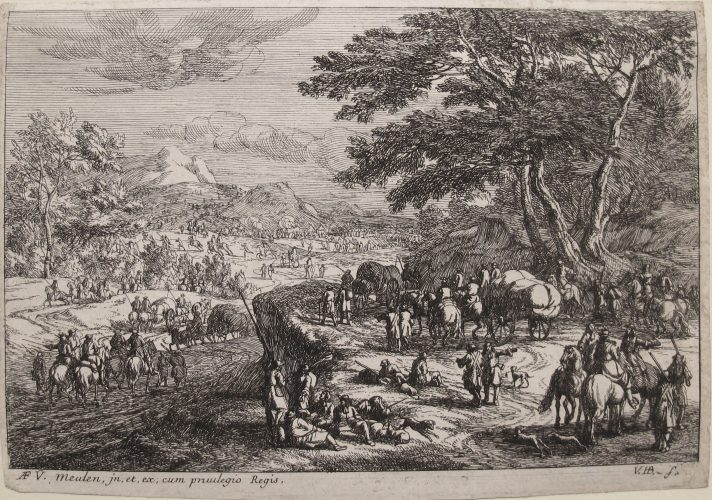 Landscape with Marching Soldiers by Jan Van Huchtenberg at