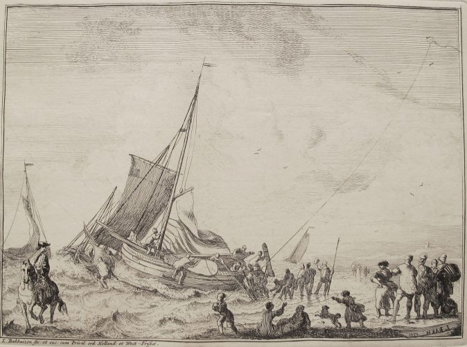 Boat at Sea by Ludolf Backhuizen at