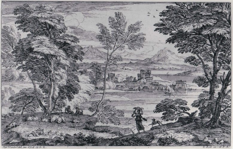 Landscape with a Maiden and her Dog by Adriaen Van Der Kabel at