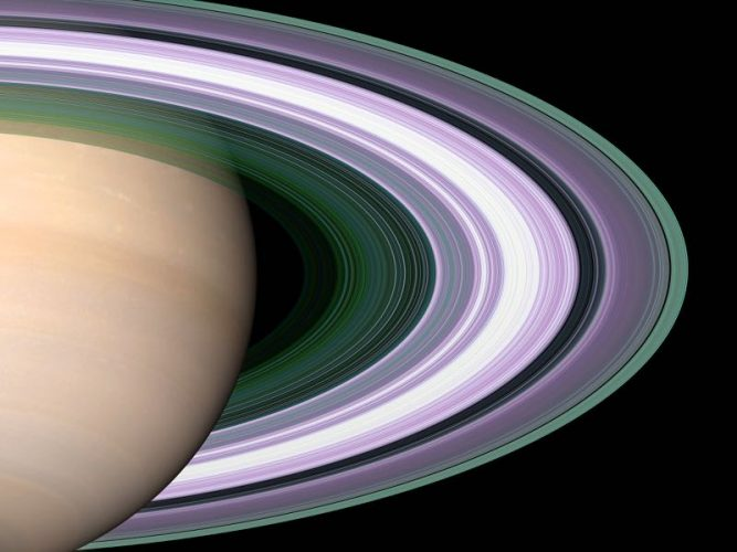 'Saturn Coloured Rings' 2005 Science Photo Library Print by Science Photo Library Archive at