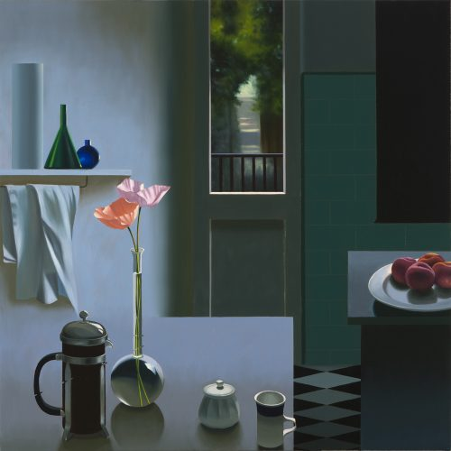 Interior with Coffee Pot and Poppies by Bruce Cohen at