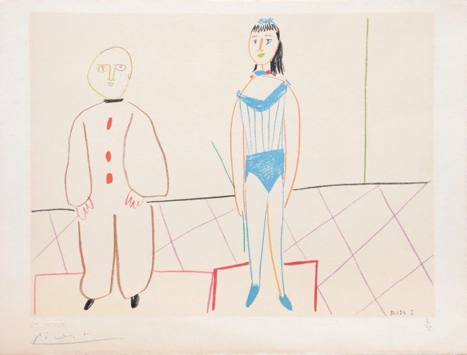 (Pierrot and the Acrobat.) Untitled from Suite de 15 dessins de Picasso. by Pablo Picasso at Pablo Picasso