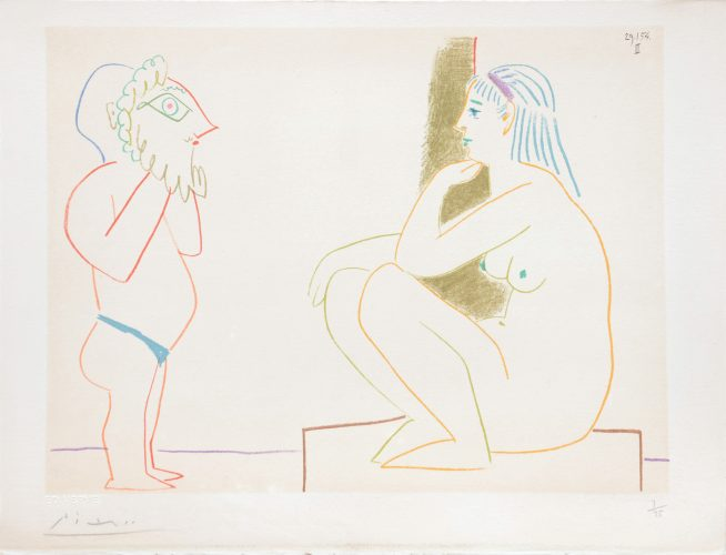 (Artist and Model Sitting.) Untitled from Suite de 15 dessins de Picasso. by Pablo Picasso at Pablo Picasso