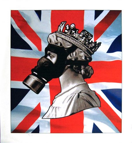 Queen with Gas Mask. by James Cauty at