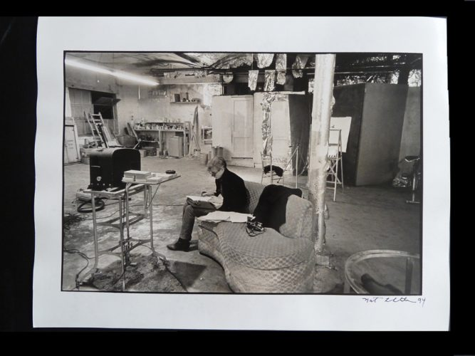 Andy Warhol´s Factory – Warhol Sitting in the Factory by Nat Finkelstein at