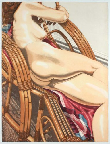 Nude On Bamboo by Philip Pearlstein at
