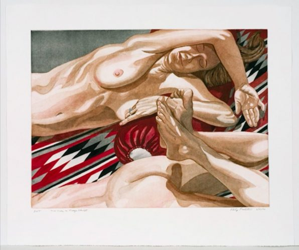 2 Nudes on Navajo Blanket by Philip Pearlstein at