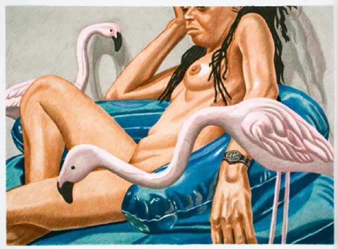Model with Flamingo by Philip Pearlstein at