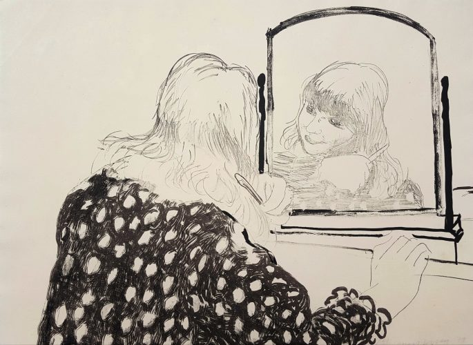 Ann Combing Her Hair by David Hockney at