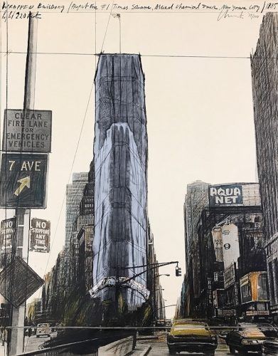 Wrapped Building, Project for 1 Times Square, New York by Christo and Jeanne-Claude at