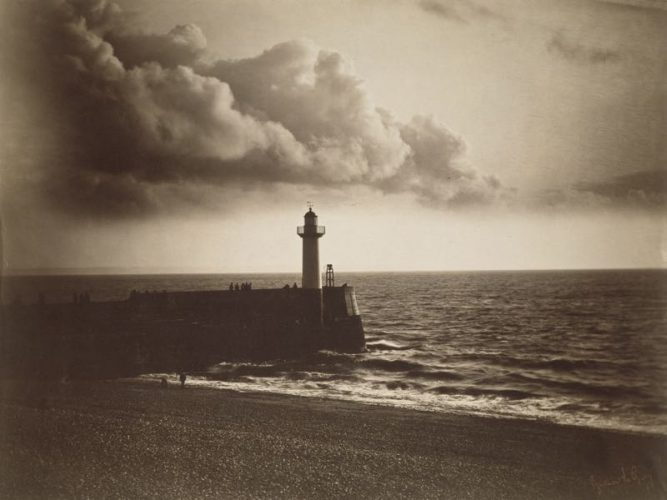 'Lighthouse And Jetty' 1856 Gustave Le Grey Print by Gustave Le Gray at