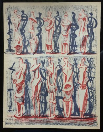 Red and Blue Standing Figures by Henry Moore at