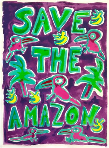 Save The Amazon (Purple) by Katherine Bernhardt at Katherine Bernhardt