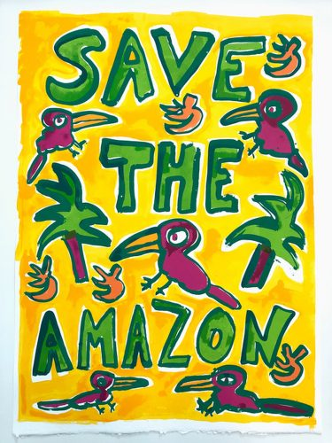 Save The Amazon (Yellow) by Katherine Bernhardt at
