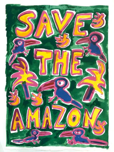 Save The Amazon (Green) by Katherine Bernhardt at Katherine Bernhardt