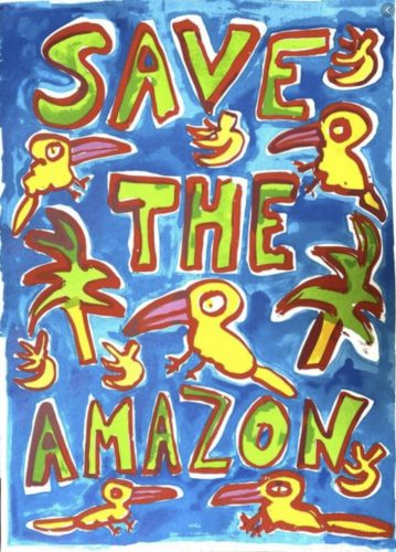 Save The Amazon (Blue) by Katherine Bernhardt at