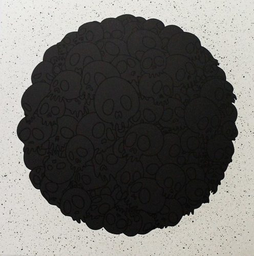 TM/KK For BLM. Black Flowers and Skulls Round by Takashi Murakami at