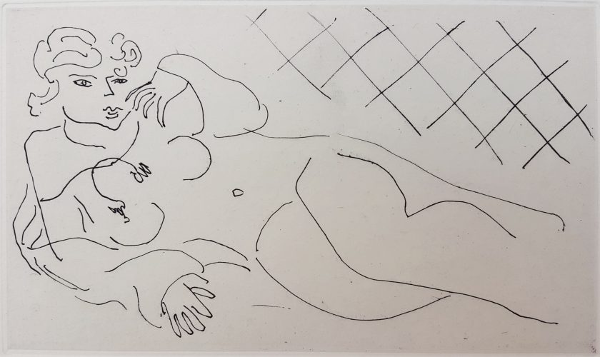 Figure Lying in front of a Tiled Floor (Figure allongée devant un carrelage) by Henri Matisse at