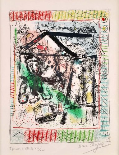 The Artist at The Village II by Marc Chagall at