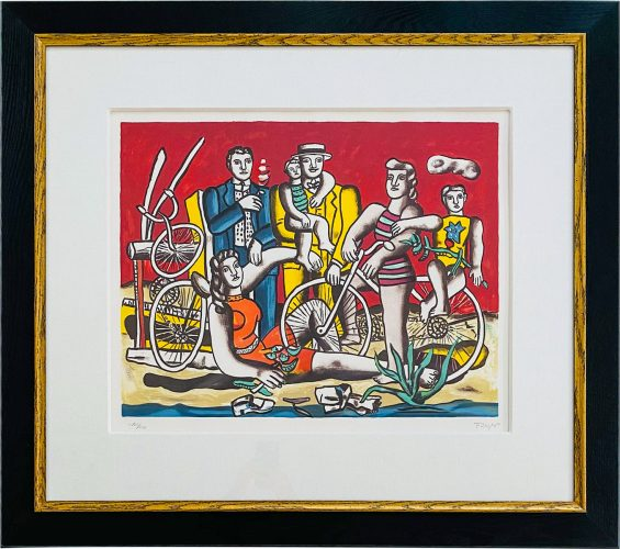 Les Loisurs Sur Rouge (with red back ground) by Fernand Leger at