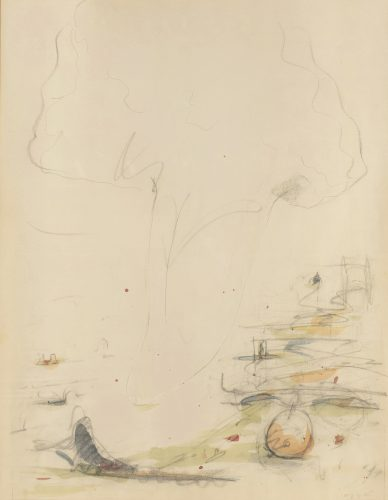 Study for Tongue Cloud Over London with Thames Ball (original drawing) by Claes Oldenburg at