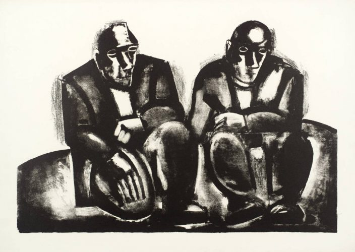 Two Seated Miners by Josef Herman at