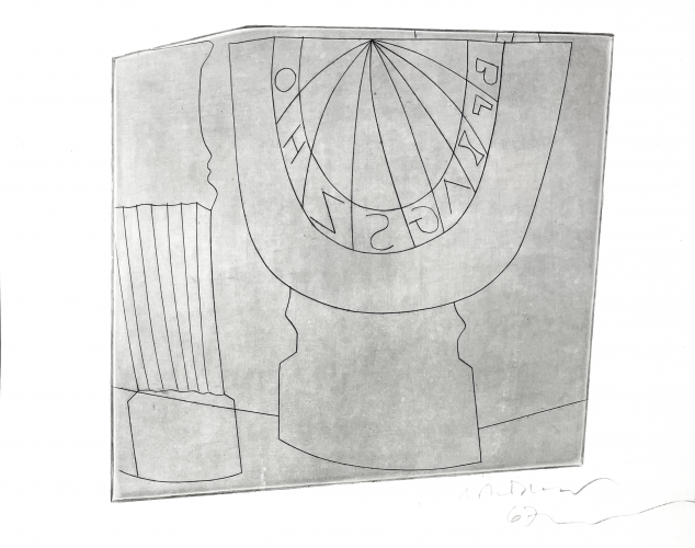 Turkish Sundial, Column, and Tree by Ben Nicholson at