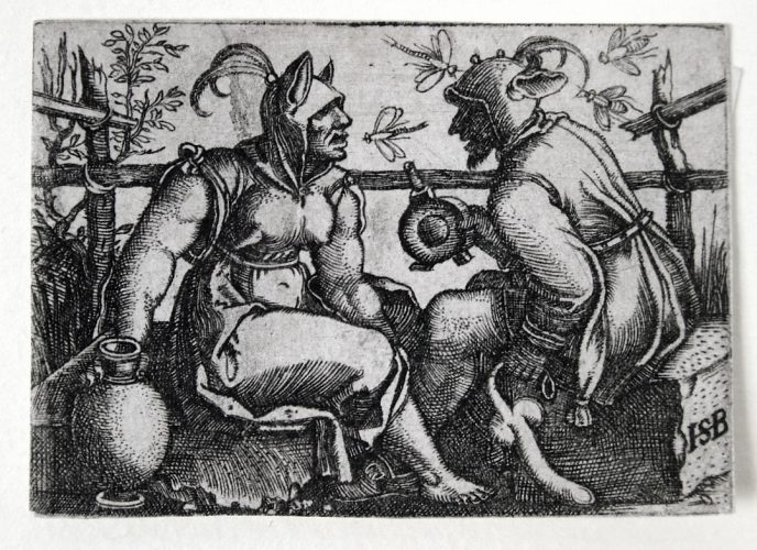 Two Fools (or Fool and Foolish Woman) by Hans Sebald Beham at Harris Schrank Fine Prints (IFPDA)