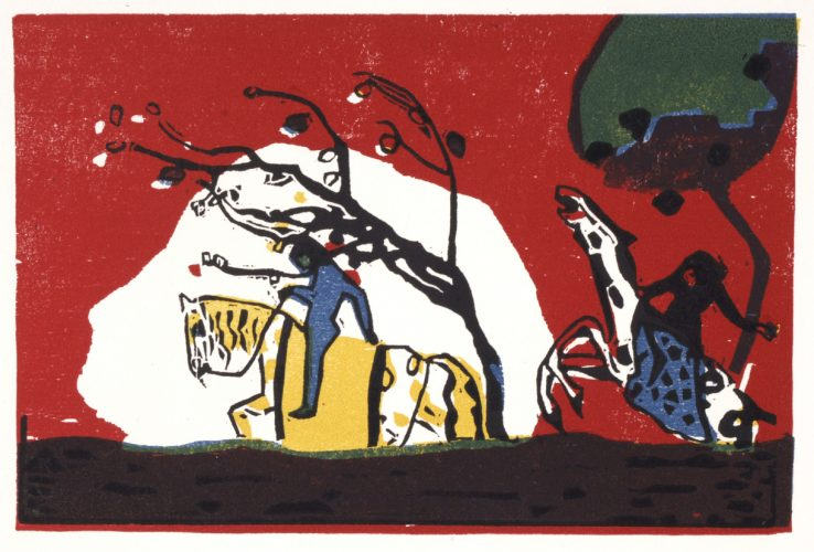 Zwei Reiter vor Rot.  Two Riders on a Red Background. 1913/1938. by Wassily Kandinsky at