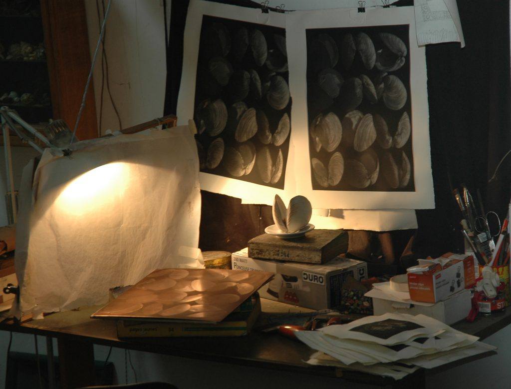 In the studio of Judith Rothchild and Mark Lintott, Octon, France