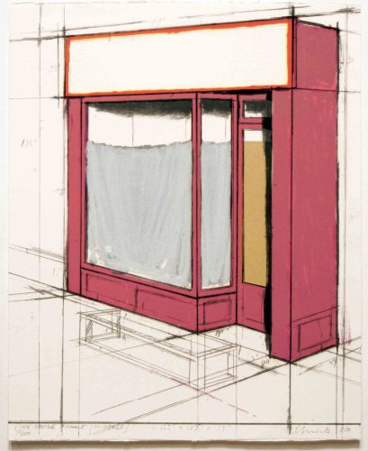 Pink Store Front, Project from Marginalia by Christo at Leslie Sacks Gallery (IFPDA)