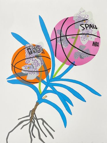 Double Basketball Orchid 2 – State II by Jonas Wood at