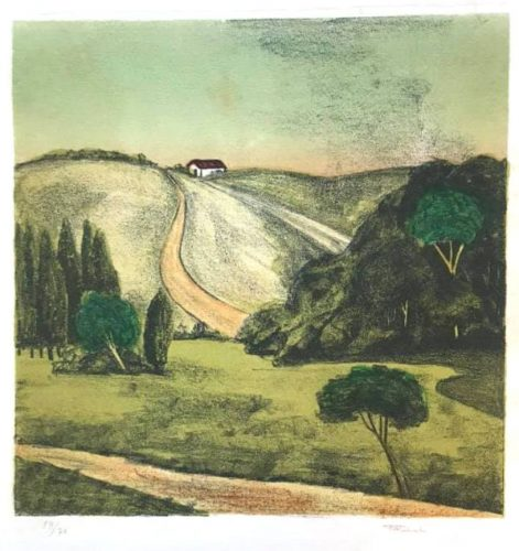 Untitled (landscape with two houses) by Francisco Rebolo at
