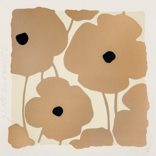 Three Poppies (Gold) by Donald Sultan at