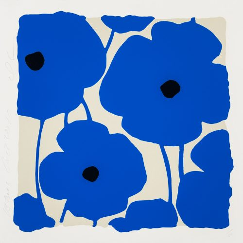 Three Poppies (Blue) by Donald Sultan at