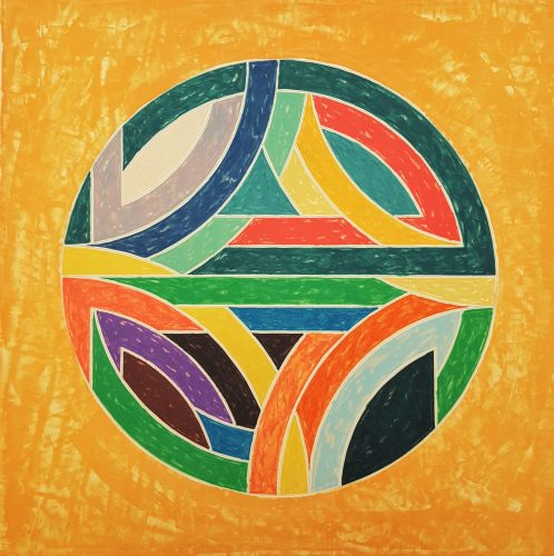 Sinjerli Variation Squared with Colored Ground IV by Frank Stella at