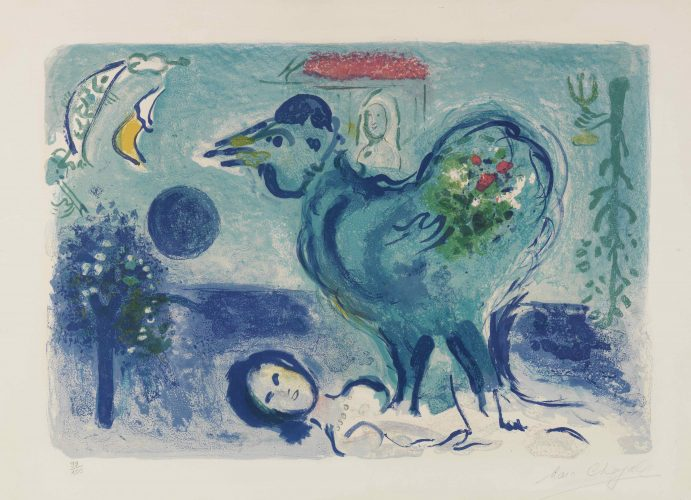 Paysage au Coq by Marc Chagall at