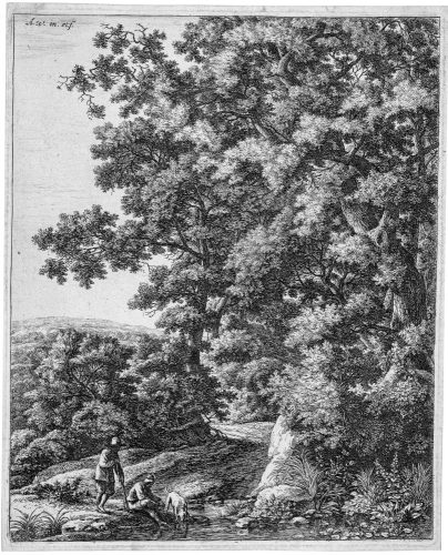 Landscape with a dog drinking from a stream as a male figure bathes his feet by Anthonie Waterloo at