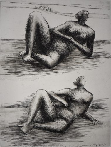 Two Reclining Figures VIII by Henry Moore at