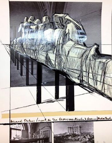 Project for DerGlypotek-Munchen, West Germany, Aegina Temple by Christo at