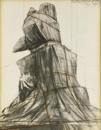 Wrapped monument to Vittorio Emanuele by Christo at