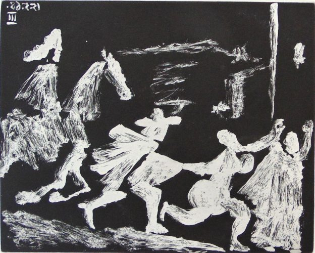 Rider Pursuing Procuress, Woman and Man, from the Suite 347 by Pablo Picasso at