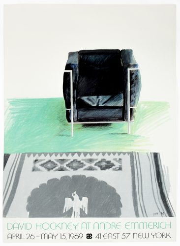 Andre Emmerich Gallery 1969 (Corbusier Chair and Rug 1969) by David Hockney at Petersburg Press