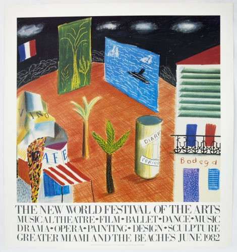 New World Festival of the Arts, Miami 1982 (Detail from The Zanazibar with Postcards 1980) by David Hockney at