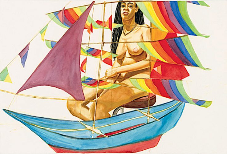 Model With Galion Kite by Philip Pearlstein at ARTContent Editions Limited