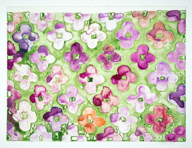 Field Painting: Violet + Chrome Green by Judy Ledgerwood at