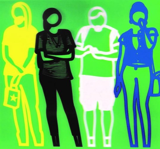 Standing People (yellow black white blue) by Julian Opie at
