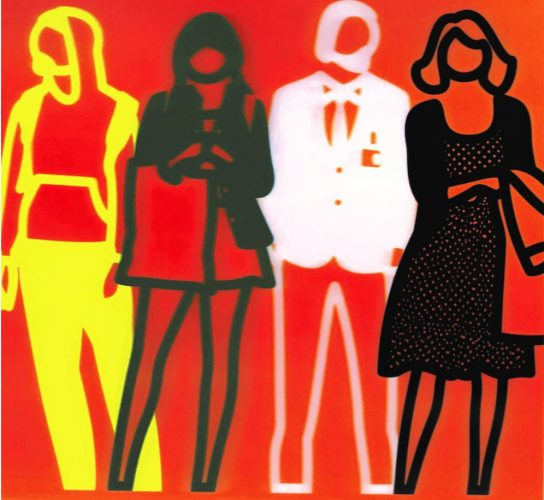 Standing people (yellow green white black) by Julian Opie at